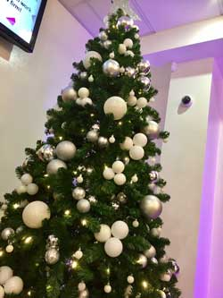 White, silver & black Christmas tree