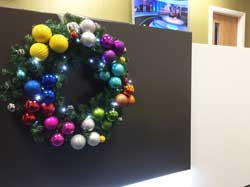 Multi-coloured bauble garland