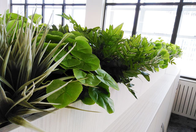 Artificial Storage-top office plant displays